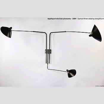 3 ROTATING STRAIGHT ARMS WALL LAMP Serge Mouille
